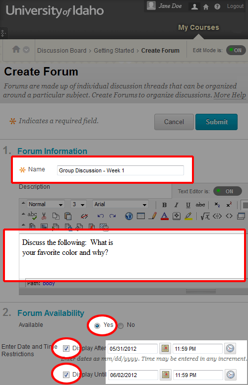 Add Discussion Forum to Content Area (Instructor Help)