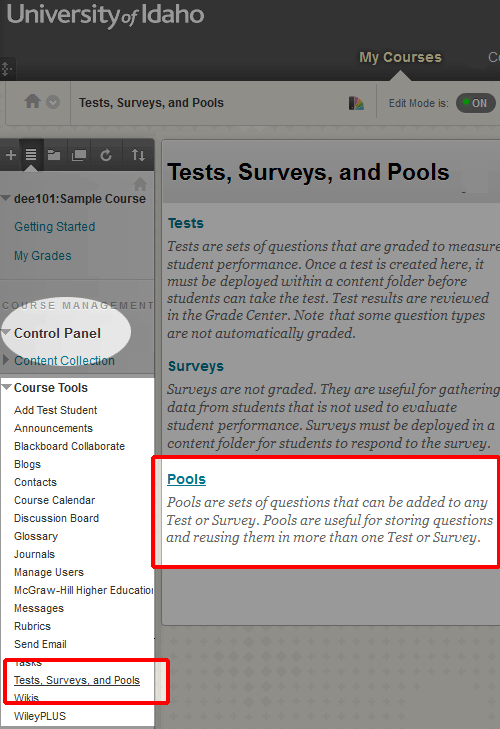 Create Questions within BbLearn (Instructor Help)