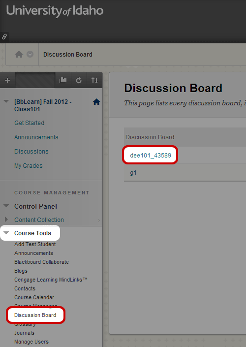Edit Discussion Forum (Instructor Help)