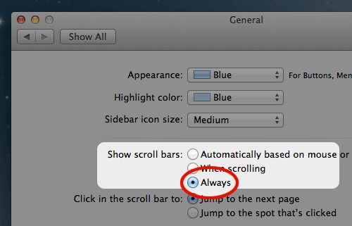 how to show side scroll bar on mac