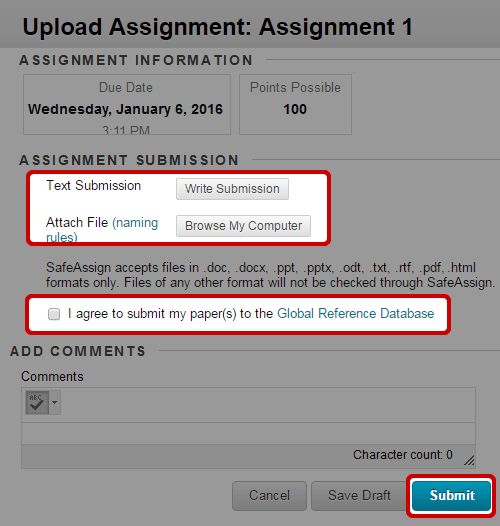 Submit an Assignment (Student Help)