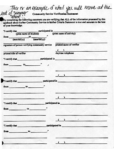 Service Learning At Bsu Resources  Sample Verification Of Service Form