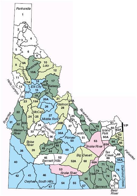 map of idaho hunting units Public Elk Hunter Survey map of idaho hunting units