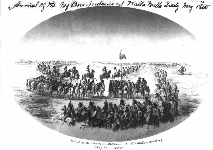 the nez perce treaty Description: arrival of the nez perce at the treaty ground at walla walla valley may 1855.