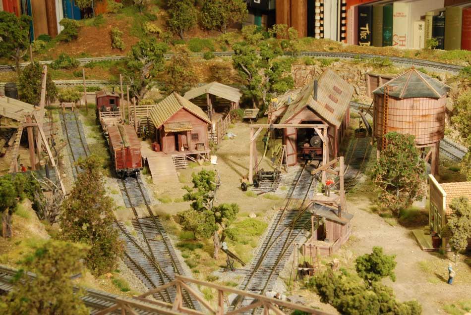 Logging Railroad Structures on railroad stove, railroad pickup truck, railroad camp, railroad roundhouse, railroad dining car, railroad control room, railroad shed,